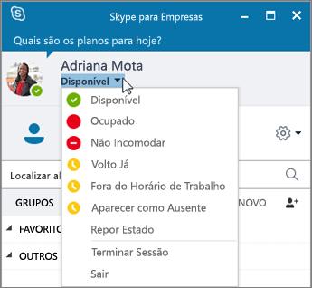 Captura de ecrã da janela Skype para Empresas com o menu Estado aberto.