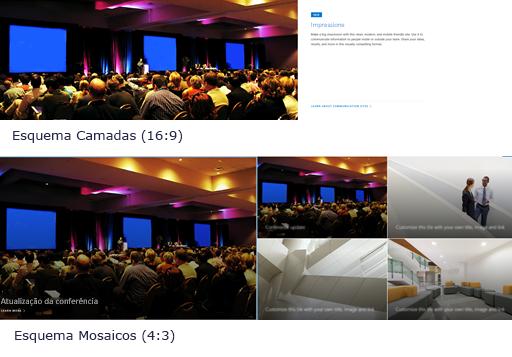 Exemplo de imagens de parte da web hero em layouts de camadas e azulejos