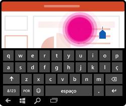 Gesto de colocar o cursor no PowerPoint para Windows Mobile