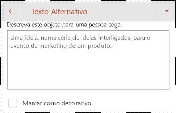 Caixa de diálogo texto alternativo para uma forma no PowerPoint para Android.