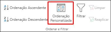 Opção de Ordenação Personalizada do Excel a partir do separador Dados