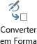 O botão Converte to Shape converte um desenho de tinta para uma forma visio