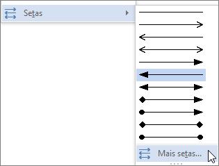 Clicar em mais setas, para personalizar uma linha ou seta