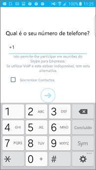 Captura de ecrã da janela onde introduz o seu número de telefone de retorno num telemóvel Android