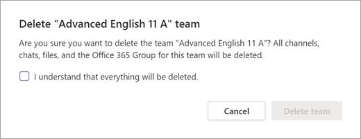 Eliminar acordo de confirmação da equipa