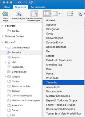 Ordene os seus e-mails de diferentes formas ao clicar em Organizar > Dispor Por > e ao selecionar De na lista de opções