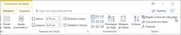 Captura de ecrã mostra o cursor a apontar para a opção de repetir linhas de cabeçalho nas ferramentas de tabela no separador esquema, no grupo dados.