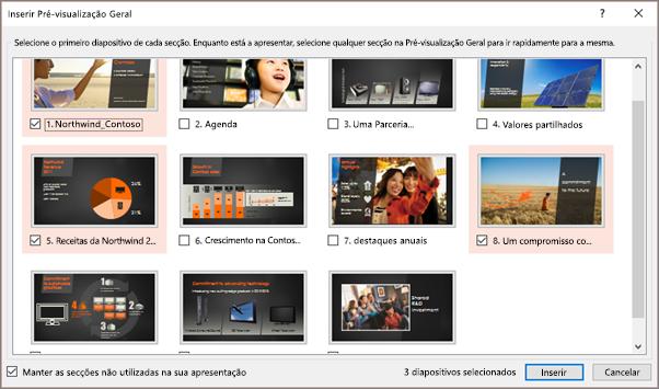 Mostra a caixa de diálogo Inserir Pré-visualização Geral no PowerPoint com as secções selecionadas.