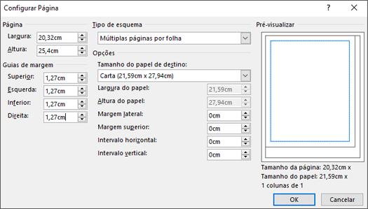 Caixa de diálogo Configurar Página