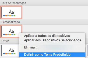 Mostra o Conjunto como opção tema padrão para um tema personalizado