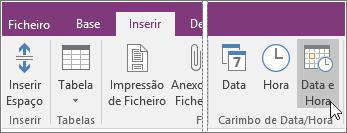 Captura de ecrã do botão Data e Hora no OneNote 2016.