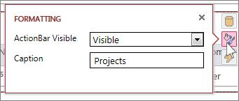 A caixa de diálogo Formatar de uma vista da folha de dados Web