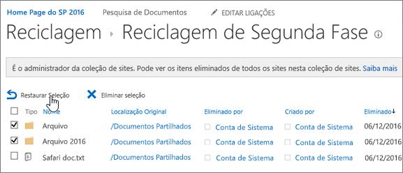 Reciclagem de segundo nível do SharePoint com o botão Restaurar realçado