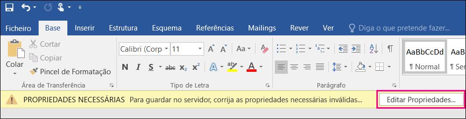 Botão Editar Propriedades apresentado na barra de notificações