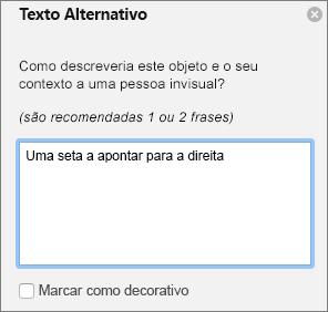 Caixa de diálogo do texto alternativo de escrita da 365 do Excel para formas