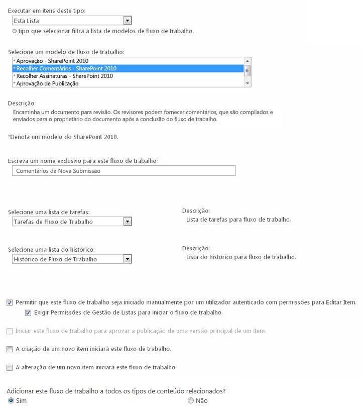 Primeira página do formulário de iniciação
