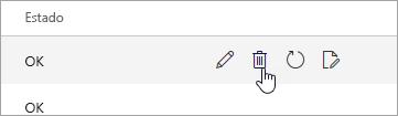 Uma captura de tela do botão Excluir na página Dispositivos móveis