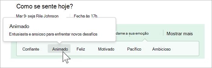 """Captura de ecrã de vista de estudante da funcionalidade Refletir. Um cursor passa por cima da palavra """"entusiasmado"""" e uma bolha mostra a definição """"Entusiasmado e ansioso por aceitar novos desafios"""""""