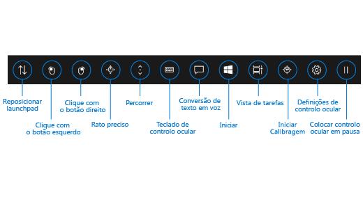O launchpad do controlo ocular contém botões que lhe permitem reposicionar o launchpad, ativar os botões esquerdo e direito do rato, utilizar os controlos de rato preciso e deslocamento, e abrir o teclado de controlo ocular, a conversão de texto em voz, o menu Iniciar do Windows e a vista de tarefas. Também pode calibrar o dispositivo de monitorização ocular, abrir as definições de controlo ocular e parar o controlo ocular de modo a ocultar o launchpad.