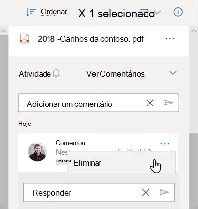 O painel OneDrive Details, mostrando comentários deixados num ficheiro partilhado e a opção Delete selecionada para um comentário