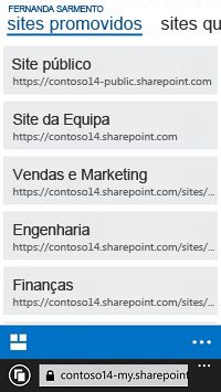 Sites promovidos no SharePoint Online num dispositivo móvel