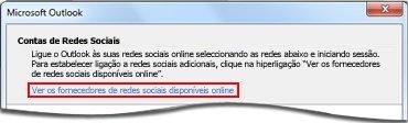 Hiperligação para a página de fornecedores do Outlook Social Connector
