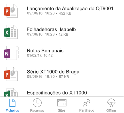 OneDrive para dispositivos móveis