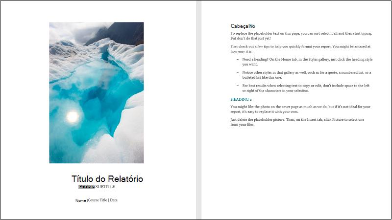 Ilustração de uma capa de um modelo de relatório de estudante