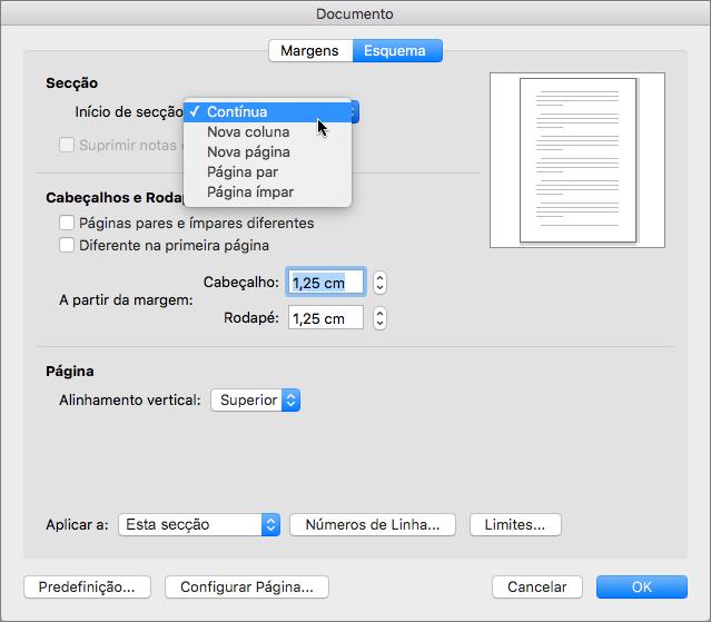 A caixa de diálogo Documento contém definições para a gestão de secções, cabeçalhos e rodapés