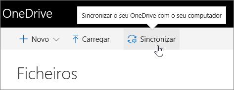 Botão Sincronizar do OneDrive para Empresas realçado