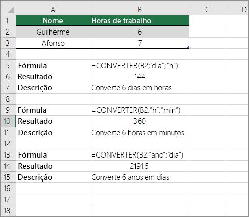 Exemplo: converter entre unidades de tempo