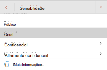 Screenshot de etiquetas de sensibilidade no Office for Android