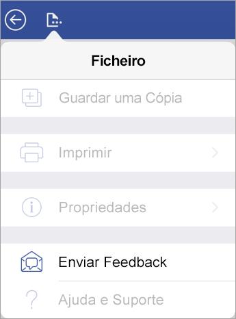 Captura de ecrã da ligação Enviar Feedback no Visio no iPad