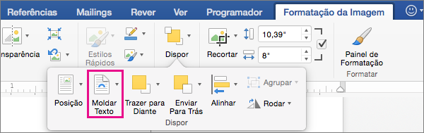 Clique em Moldar Texto para selecionar como o texto é moldado a uma imagem ou objeto de desenho.