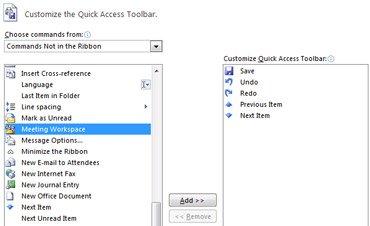 caixa de diálogo personalizar a barra de ferramentas de acesso rápido com comandos adicionais