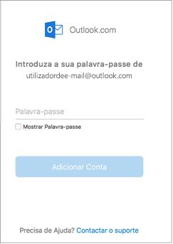 Introduza a palavra-passe da sua conta do Outlook.com