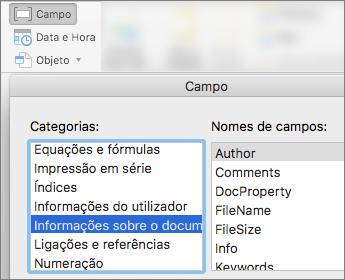 Screen shot que mostra códigos de campo filtrados pela categoria De Informação de Documentos