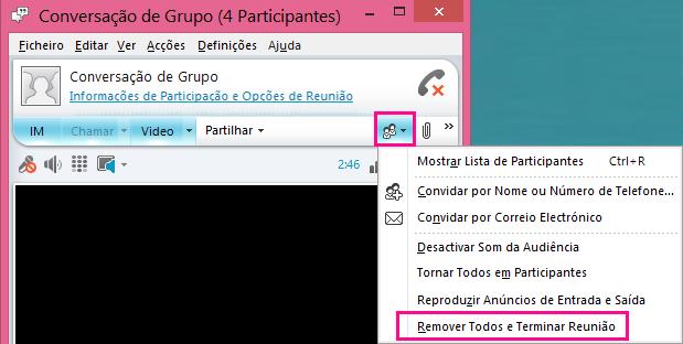 Captura de ecrã do botão Terminar Reunião