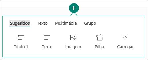 Captura de ecrã das opções do menu Inserir Conteúdos.
