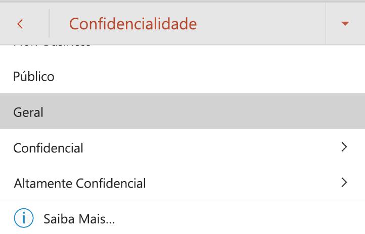 Menu de confidencialidade no Android com rótulos de confidencialidade apresentados