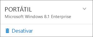 Captura de ecrã a mostrar a opção Desativar numa instalação do Office 365 Empresas