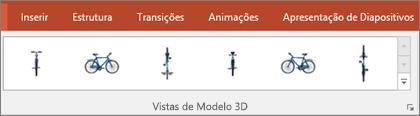 A galeria Vistas de Modelo 3D disponibiliza algumas predefinições úteis para organizar a vista da sua imagem 3D