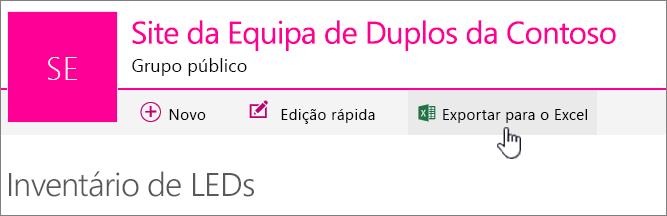 Lista do SharePoint Online com a opção Exportar para o Excel realçada