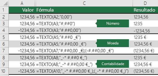 Exemplos da função TEXTO com formatos de número, moeda e contabilidade
