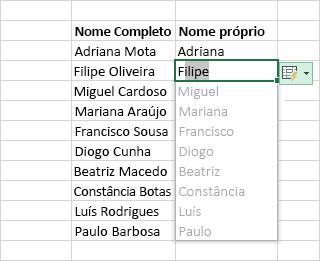Utilizar a Pré-visualização da Conclusão Automática para preencher uma coluna de dados