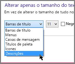 Definições de formatação das Sugestões do Windows 8