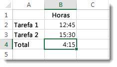 Adição de tempo superior a 24 horas que resulta num resultado inesperado de 4:15