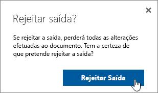 Caixa de diálogo disCard check in de confirmação com o botão de descarte realçado