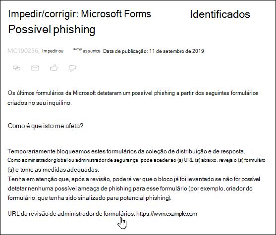 Apontar para o administrador de formulários consulte hiperligação URL na publicação do centro de administração do Microsoft 365 acerca do Microsoft Forms e da detecção de phishing