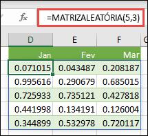 Função MATRIZALEATÓRIA no Excel. MATRIZALEATÓRIA(5,3) devolve valores aleatórios entre 0 e 1 numa matriz com 5 linhas em altura por 3 colunas de largura.